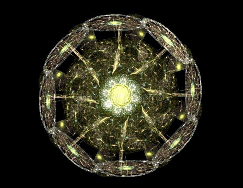 Stained glass flower or butterfly, digital fractal art design stock illustration