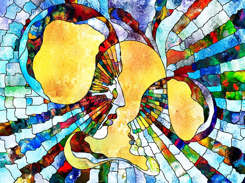 Tat Tvam Asi. Stained Glass Forever series. Parent and child profiles divided and merged by mosaic reality on the subject of unity of existence stock illustration