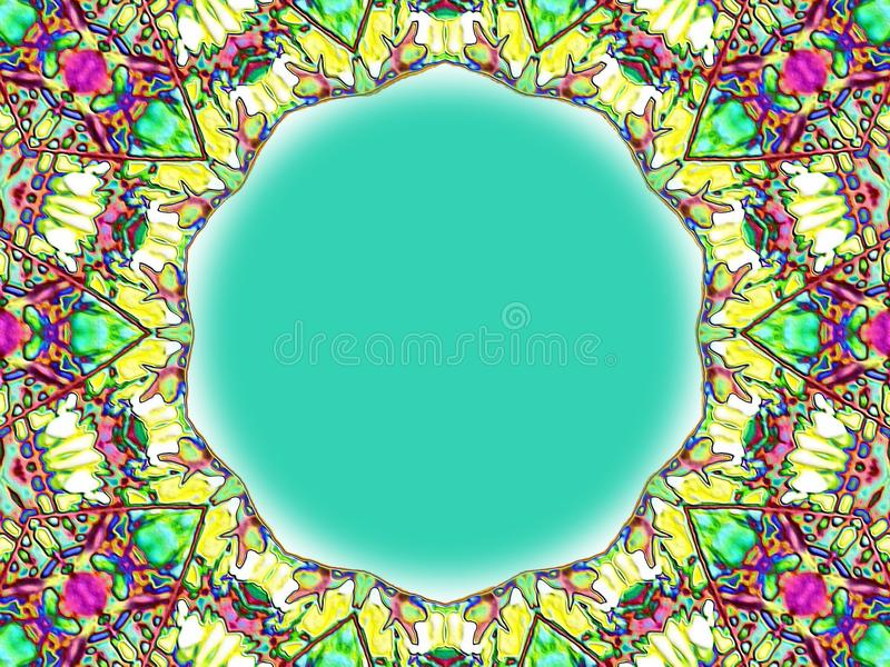 Stained Glass Frame. Colorful stained glass shapes frames a blue backgroun royalty free stock image