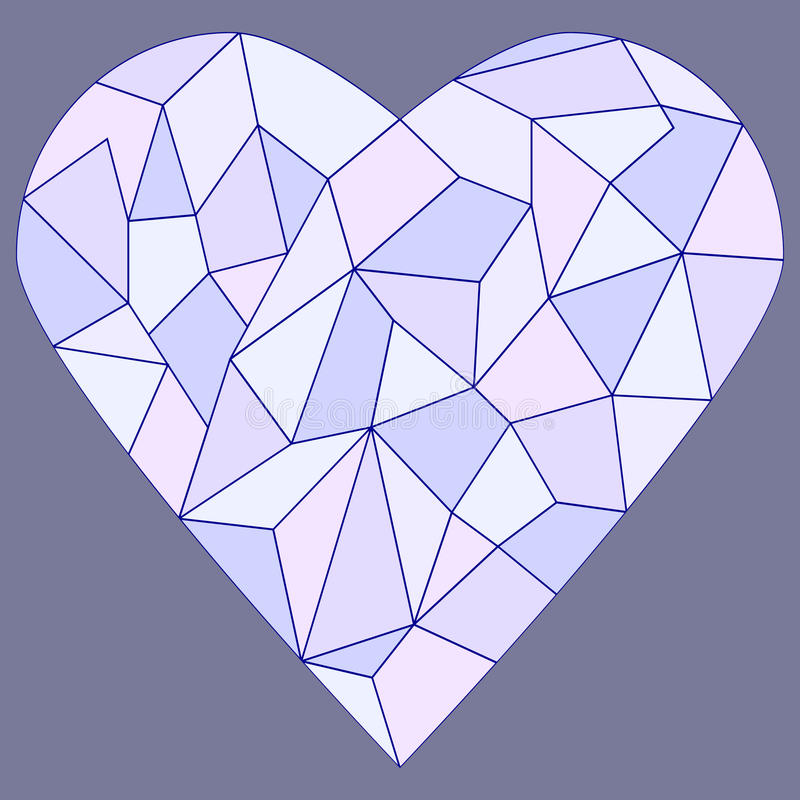 Stained glass heart. Coloured with outline vector illustration