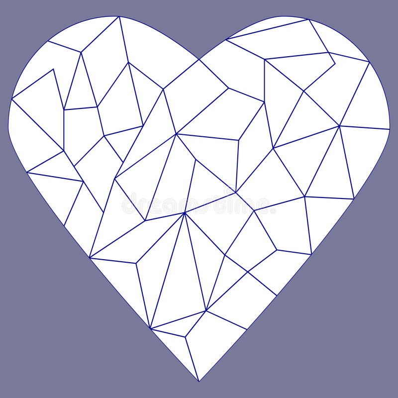 Stained glass heart. Pattern, can be coloured vector illustration