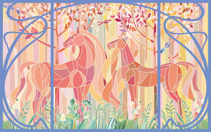 Stained glass horses of color patches in the frame of Art Nouveau style. Delicate shades of pink orange green. Imitation colored glass royalty free illustration
