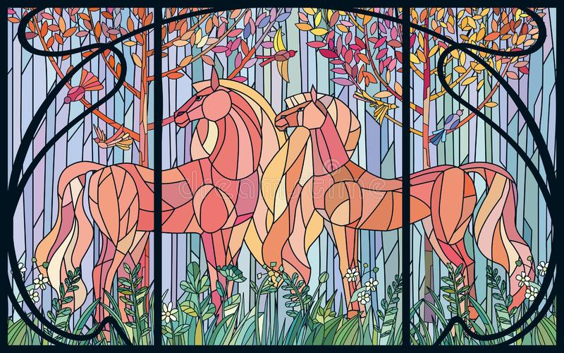 Stained glass horses of color patches in the frame of Art Nouveau style. Imitation colored glass royalty free illustration