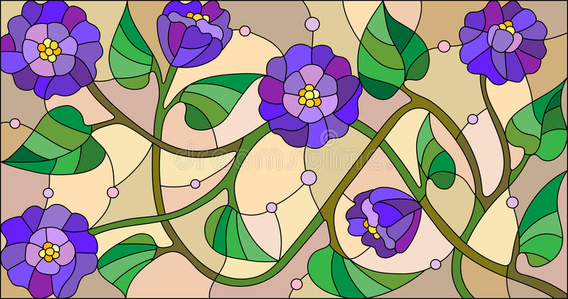 Stained glass illustration with abstract blue flowers on a beige background stock illustration