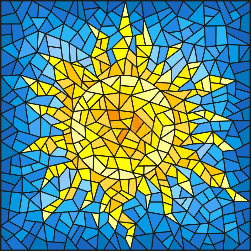 Stained glass illustration abstract cracked sun against the blue sky stock illustration