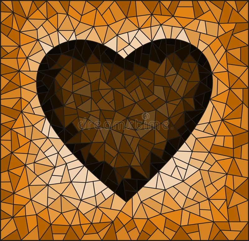 Stained glass illustration with abstract  heart onon a cracked background, rectangular image, tone brown,  Sepia stock illustration