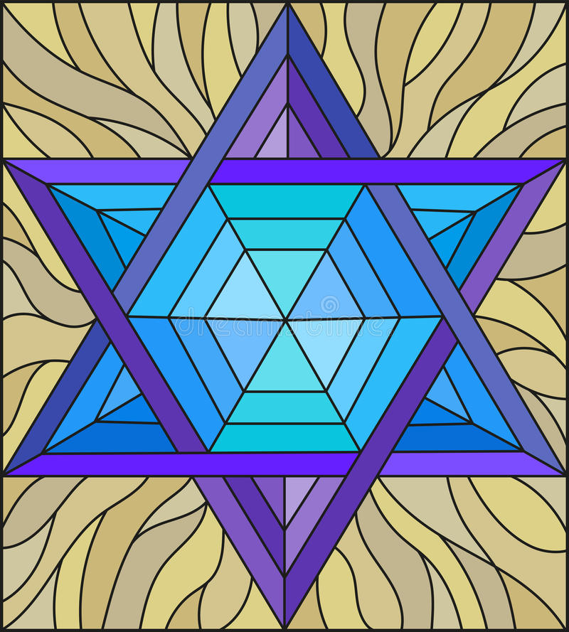 Stained glass illustration with an abstract six-pointed blue star on a brown background vector illustration