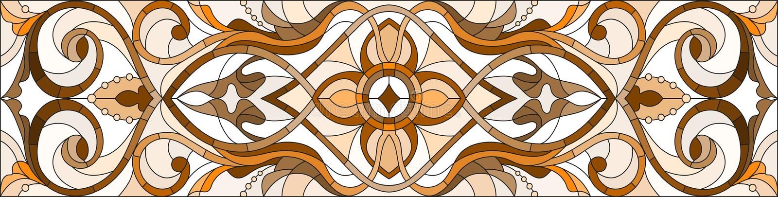 Stained glass illustration with abstract swirls and leaves on a light background,horizontal orientation, sepia stock illustration
