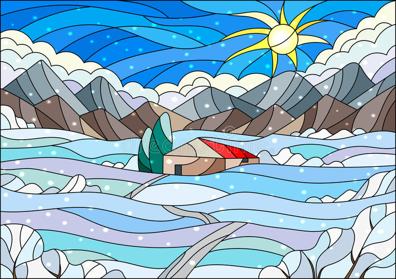 Stained glass illustration with abstract winter landscape,a lonely house amid fields, mountains , sky and falling snow royalty free illustration