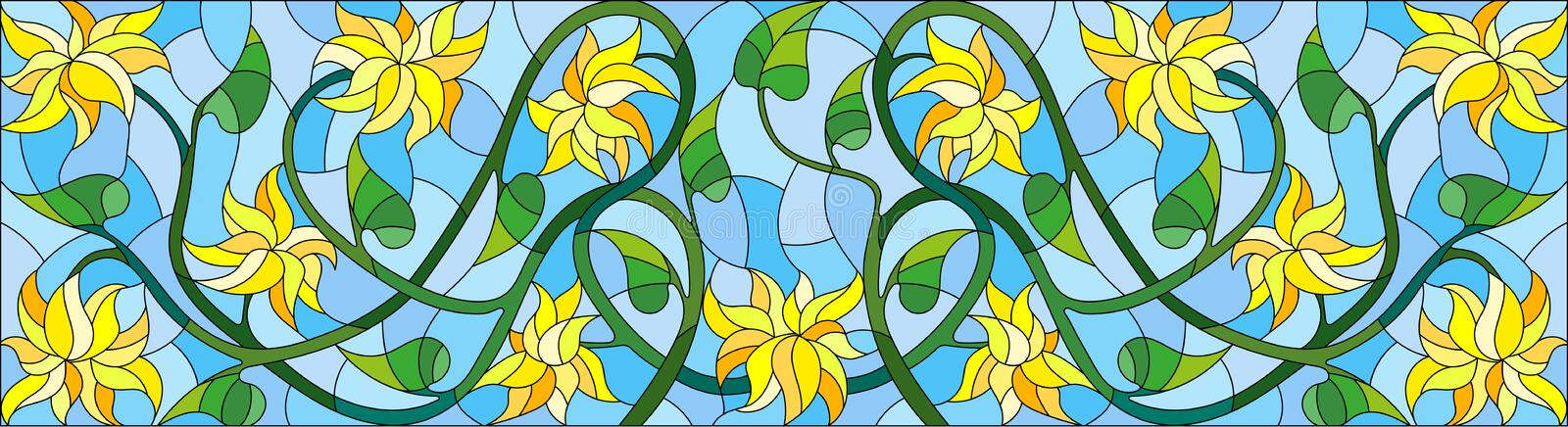 Stained glass illustration with abstract yellow flowers on a blue background,horizontal orientation royalty free illustration