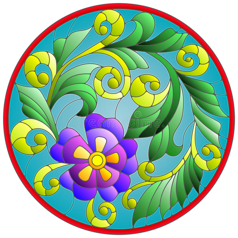 Stained glass illustration with abstraction flowers and leaves round frame stock illustration