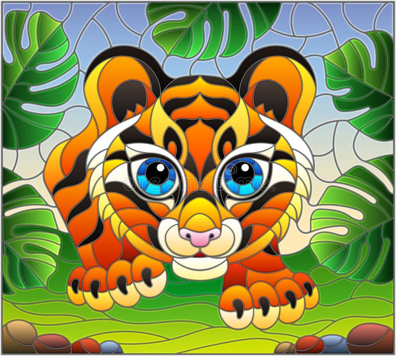 Stained glass illustration with baby tiger on the hunt, animal on the background of tropical leaves. Illustration in stained glass style with baby tiger on the royalty free illustration