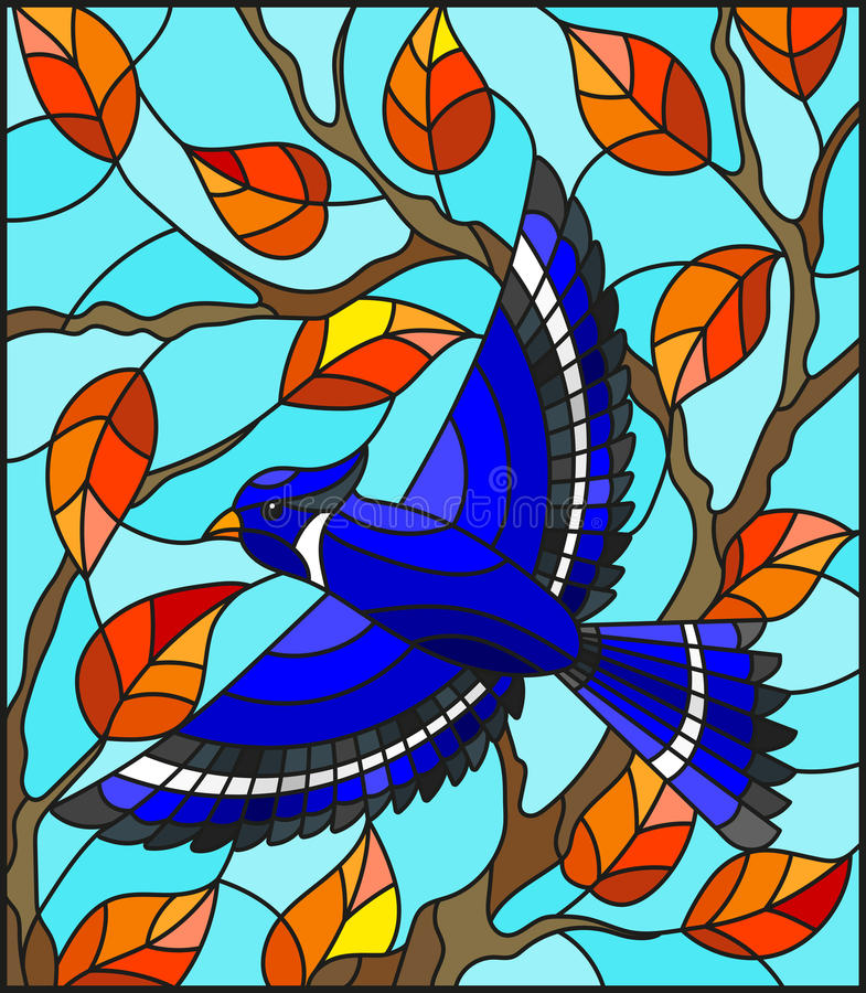 Stained glass illustration with a beautiful blue bird on a background of autumn branch of tree and sky royalty free illustration
