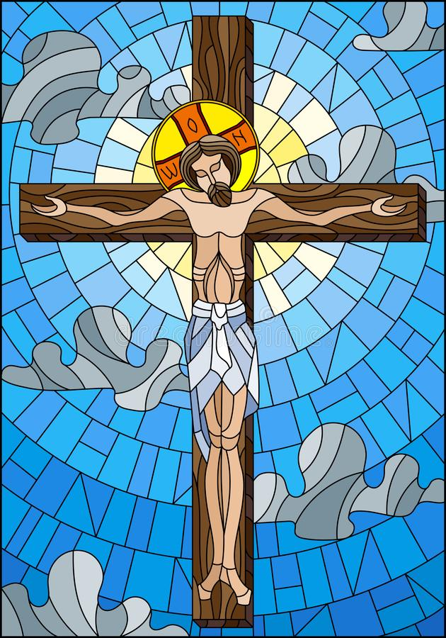Stained glass illustration on the biblical theme, Jesus Christ on the cross against the cloudy sky and the sun vector illustration