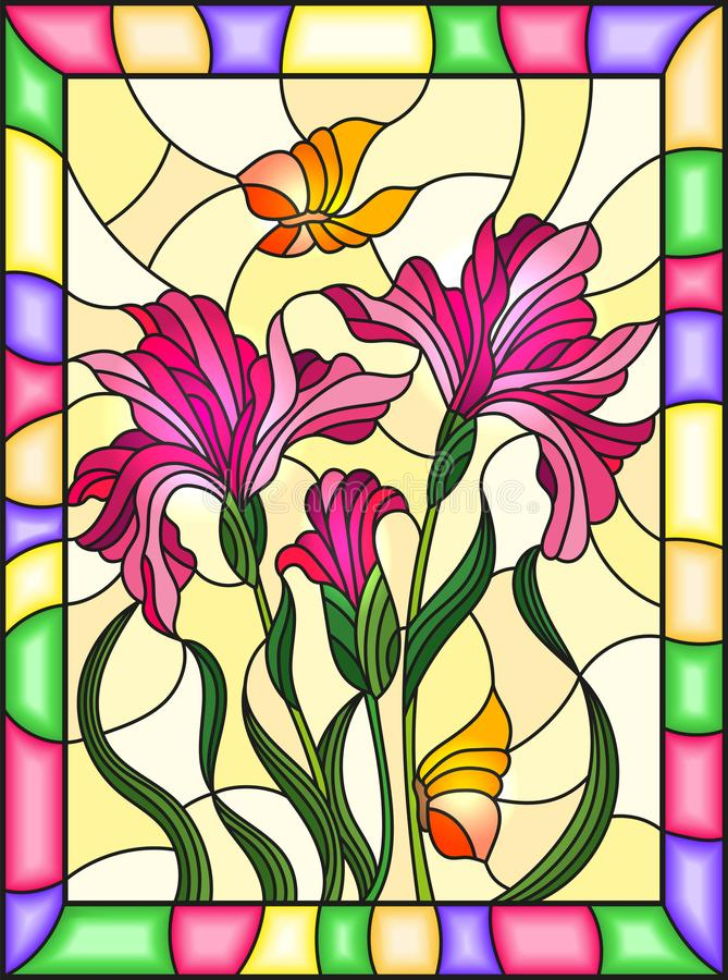 Stained glass illustration with a bouquet of pink irises and butterflies on a yellow background in a bright frame. Illustration in stained glass style with a stock illustration