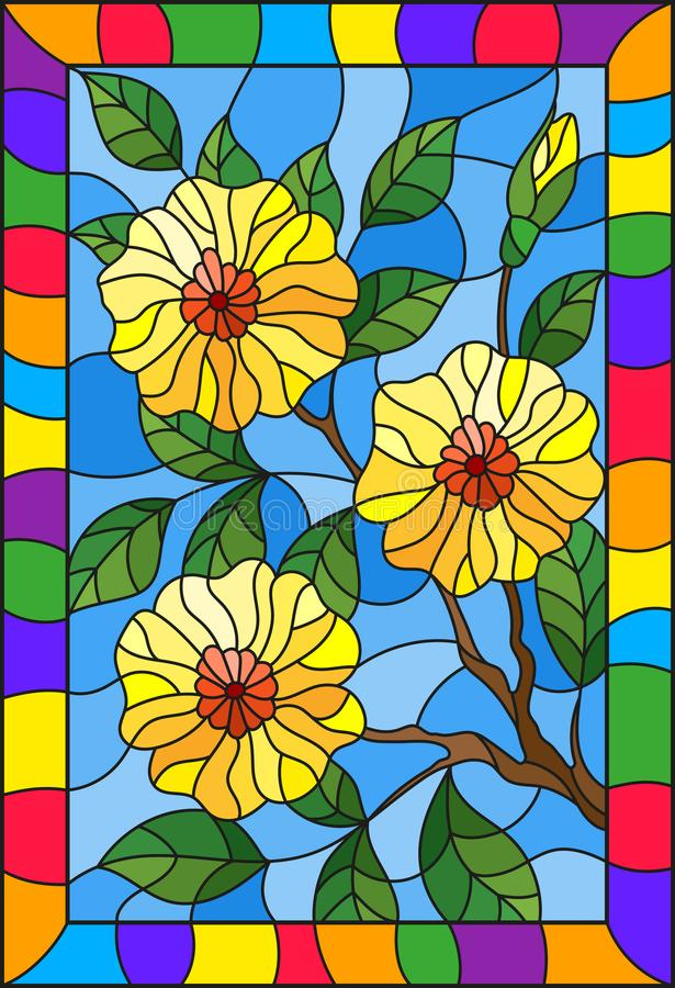 Stained glass illustration with a branch of a flowering plant with yellow flowers on a blue background in a bright frame,rectangul. Illustration in stained glass stock illustration