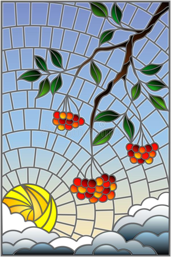 Stained glass illustration with a branch of mountain ash, clusters of berries and leaves against the sky with sun and clouds , ve. Illustration in stained glass royalty free illustration