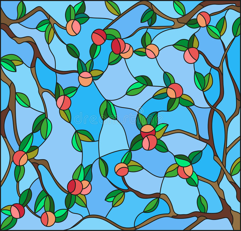 Stained glass illustration with the branches of Apple trees , the fruit branches and leaves against the sky stock illustration