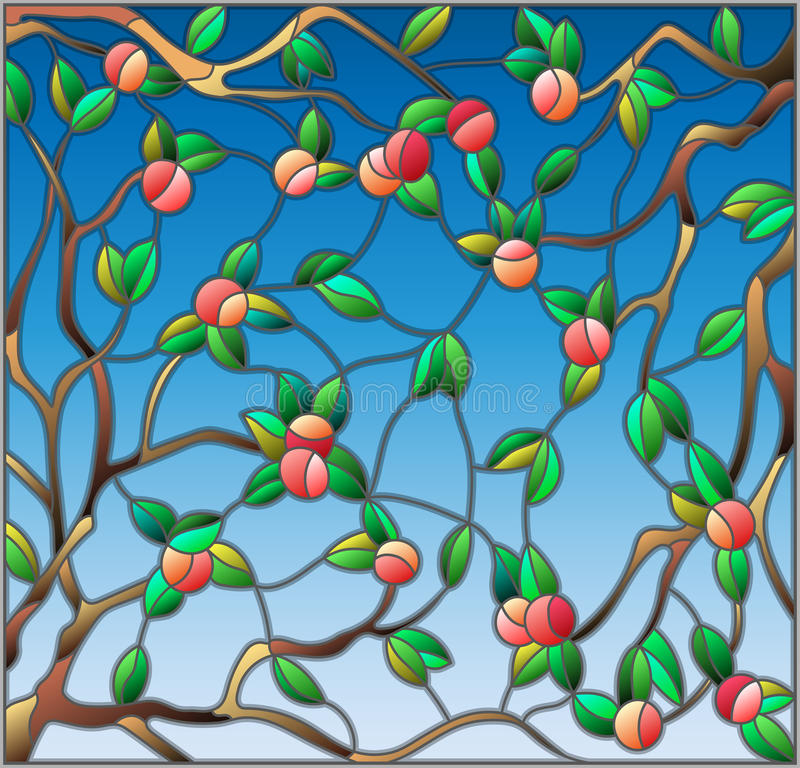 Stained glass illustration with the branches of Apple trees , the fruit branches and leaves against the sky. Illustration in the style of a stained glass window royalty free illustration
