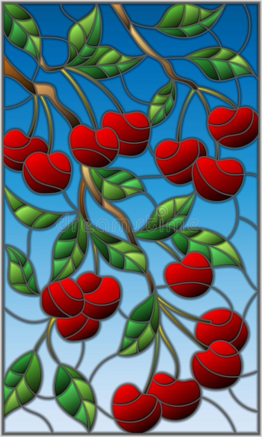 Stained glass illustration with the branches of cherry tree , the branches, leaves and berries against the sky royalty free illustration