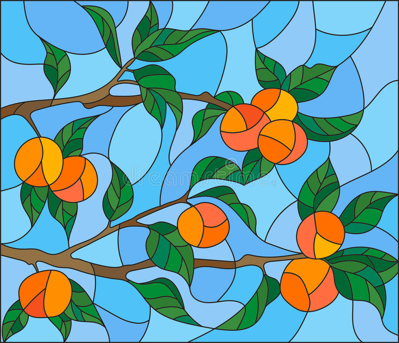 Stained glass illustration with the branches of orange tree , the fruit branches and leaves against the sky stock illustration
