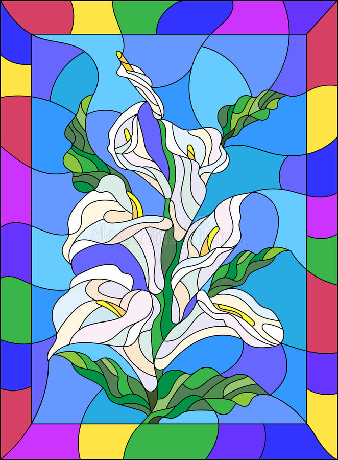 Download Stained Glass Illustration With Buds And Leaves Of A Calla Lily Flower In A Bright Frame Stock Vector - Illustration of contour, beautiful: 75889063