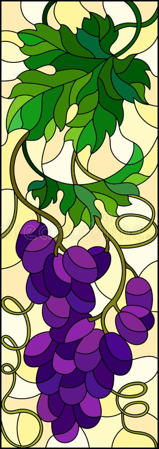 Stained glass illustration with a bunch of red grapes and leaves on a yellow background,vertical image. The illustration in stained glass style painting with a vector illustration