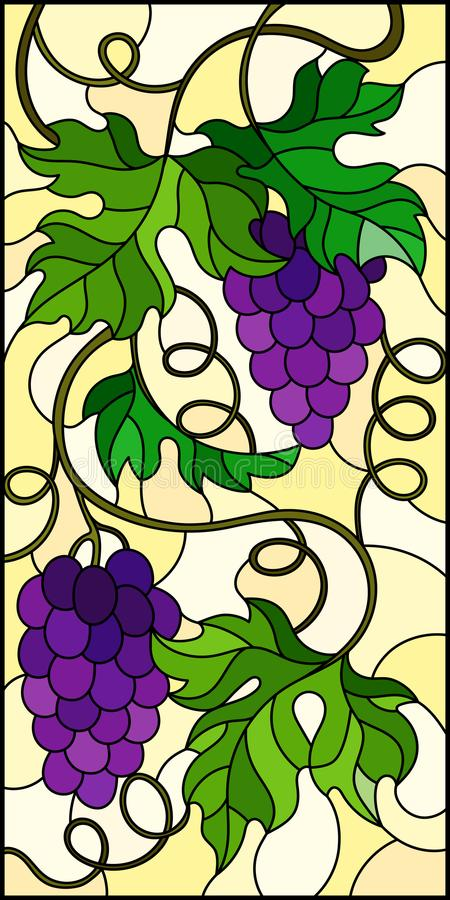 Stained glass illustration with a bunch of red grapes and leaves on a yellow background,vertical image. The illustration in stained glass style painting with a royalty free illustration