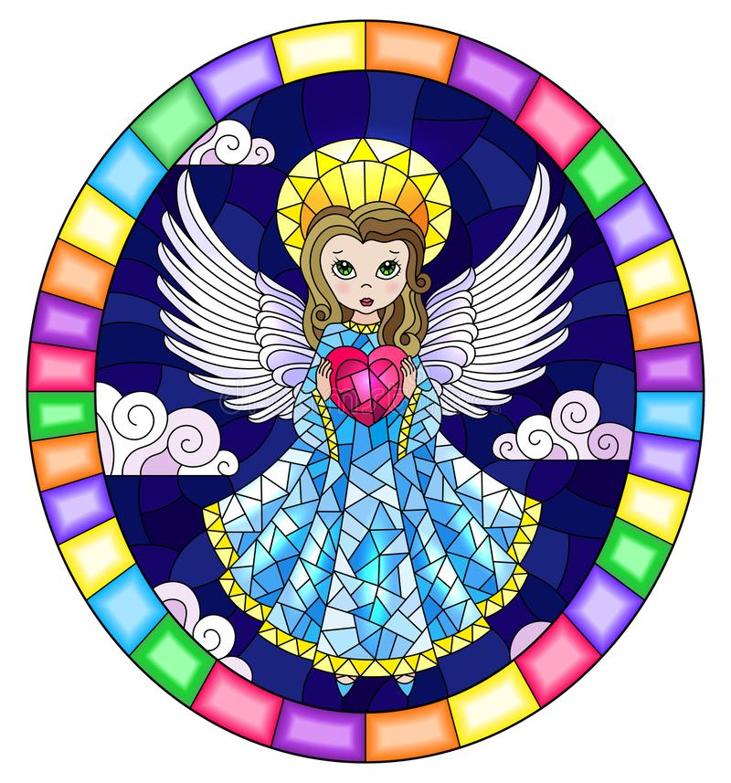 Stained glass illustration with  cartoon  angel in bblue dress with heart in hands against the cloudy night sky,round image in bri. Illustration in stained glass royalty free illustration