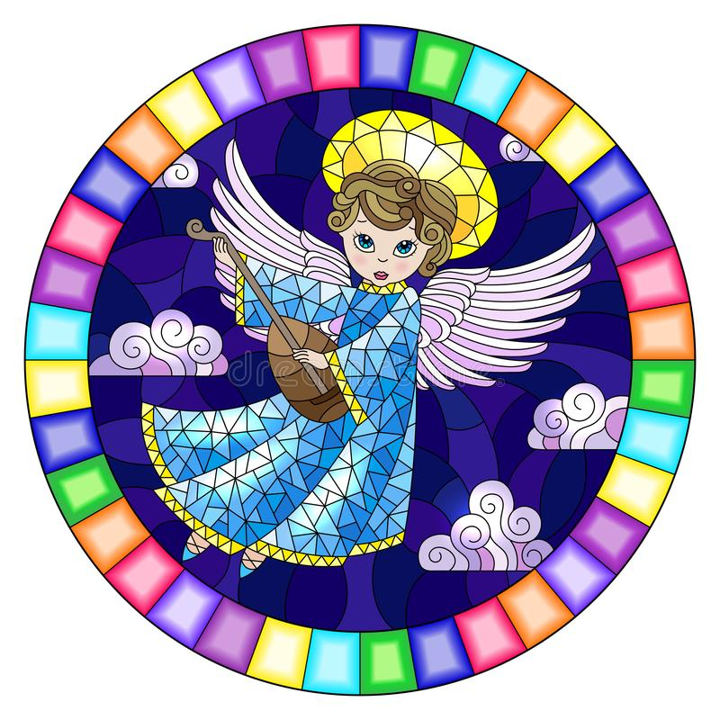 Stained glass illustration with  cartoon  angel  in blue dress playing the lute against the cloudy night sky,round image in bright. Illustration in stained glass stock illustration