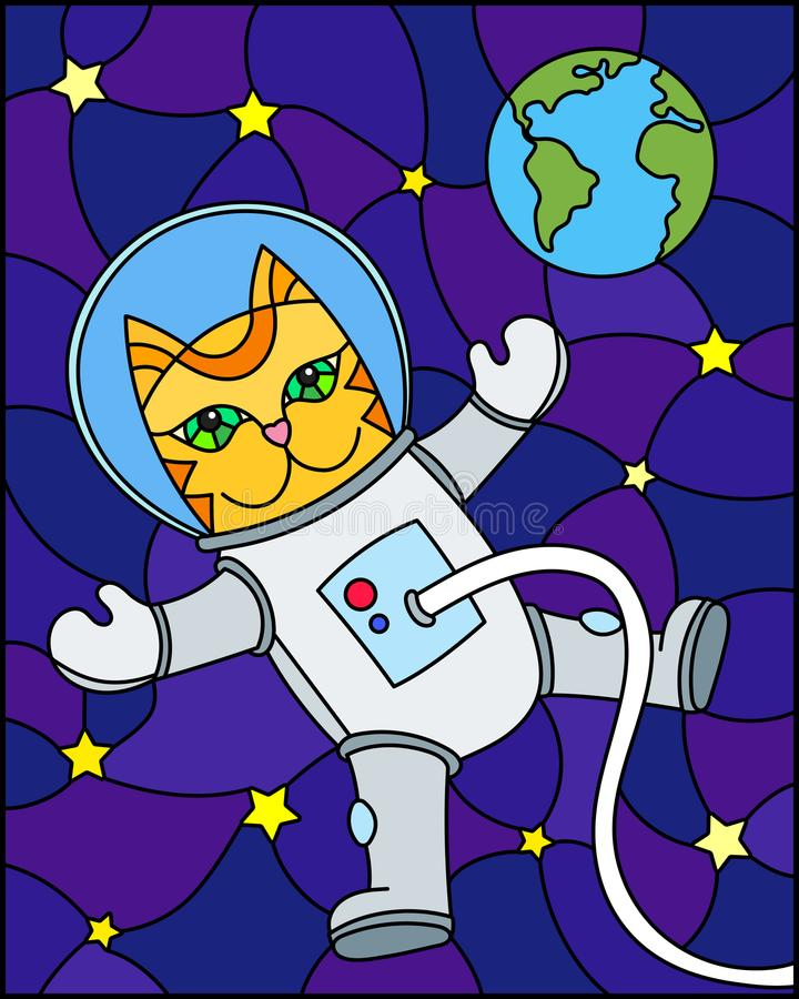 Stained glass illustration with cartoon funny cat astronaut on the background of the cosmos, stars and earth royalty free illustration