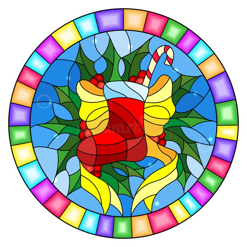 Stained glass illustration with a Christmas sock, ribbon and Holly branches on a blue background, round picture frame. Illustration in stained glass style with a stock illustration