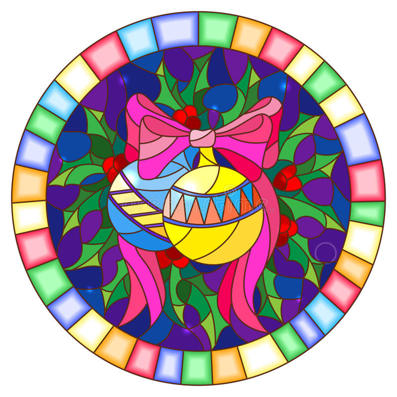 Stained glass illustration with Christmas toy and Holly branches on a blue background, round picture frame. Illustration in stained glass style with Christmas stock illustration