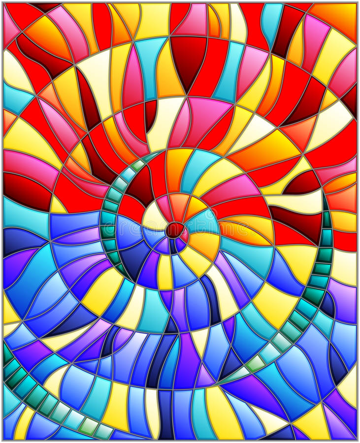 Free Stained Glass Illustration , Colorful Tiles Arranged In A Spiral Stock Image - 81671711