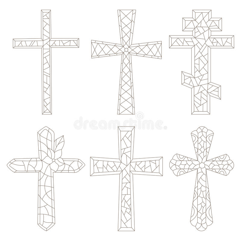 Stained glass illustration with a contoured Christian crosses vector illustration