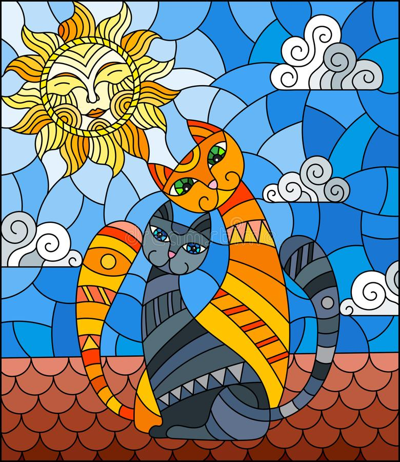 Stained glass illustration with A couple of cats sitting on the roof against the cloudy sky and the sun stock illustration
