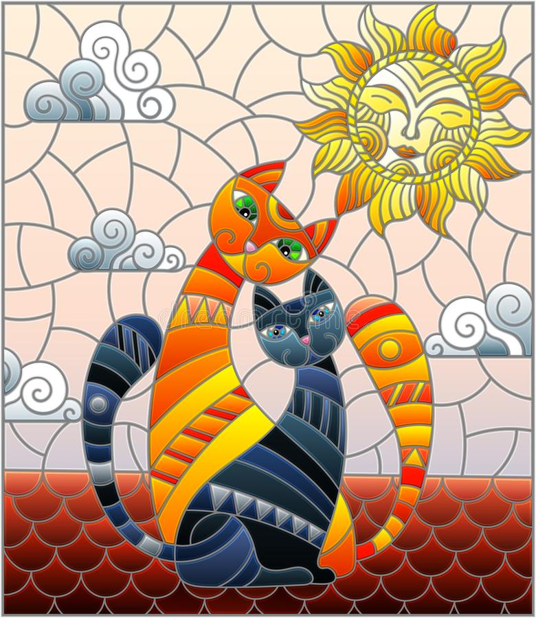 Stained glass illustration A couple of cats sitting on the roof against the cloudy sky and the sun stock illustration