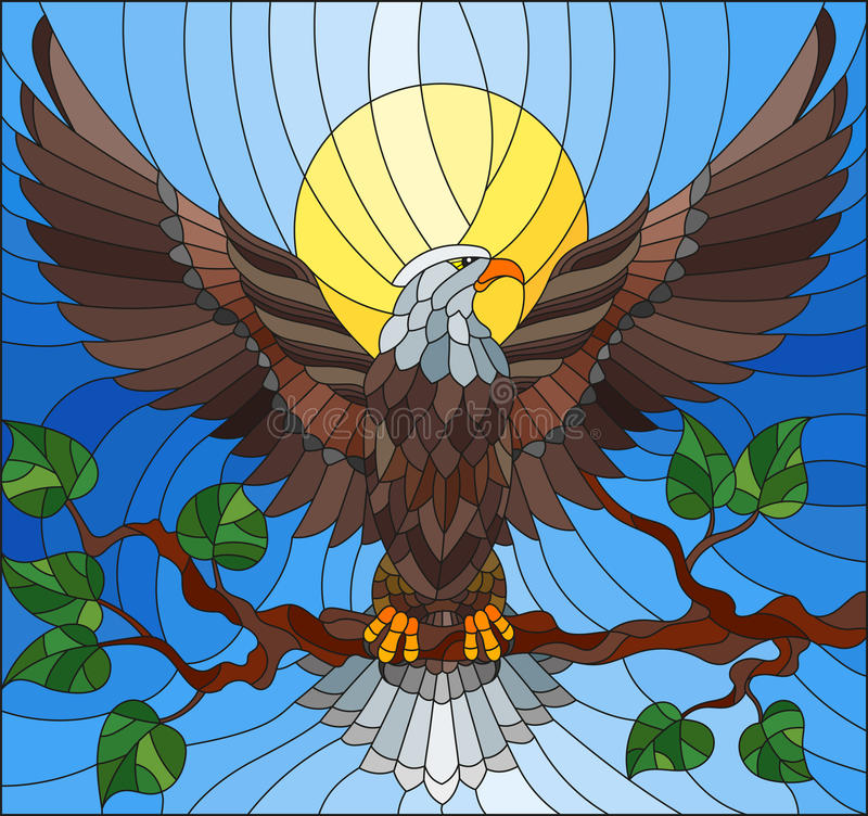 Stained glass illustration with fabulous eagle sitting on a tree branch against the sky vector illustration