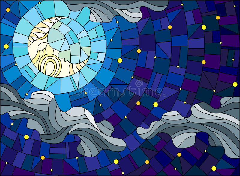 Stained glass illustration with the fabulous moon with a face against the sky and clouds vector illustration