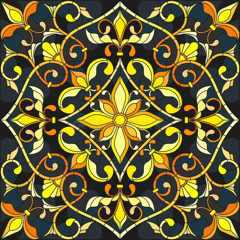 Stained glass illustration with floral ornament ,imitation gold on dark background with swirls and floral motifs. Illustration in stained glass style with floral vector illustration