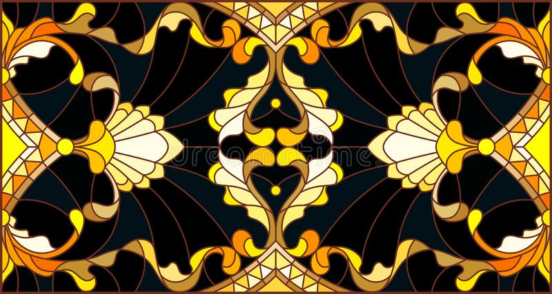 Stained glass illustration with  floral ornament ,imitation gold on dark background with swirls and floral motifs. Illustration in stained glass style with vector illustration