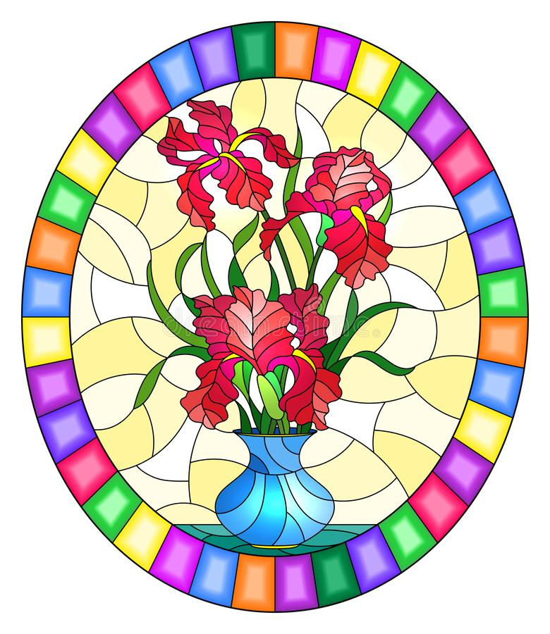 Stained glass illustration with  floral still life,  bouquet of pink irises in a blue  vase on a yellow background,round image in. Illustration in stained glass stock illustration