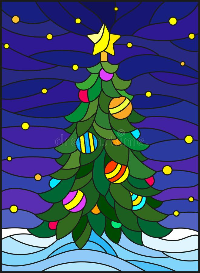 Free Stained Glass Illustration For The New Year, Decorated Christmas Tree With Decorations On A Background Of Snow And Starry Sky Royalty Free Stock Photography - 101852157