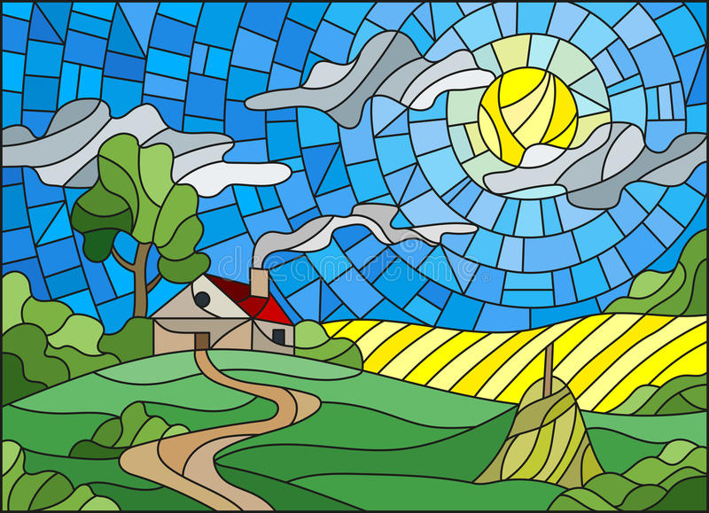 Stained glass illustration landscape with a lonely house amid field,sun and sky. Illustration in stained glass style landscape with a lonely house amid field,sun royalty free illustration