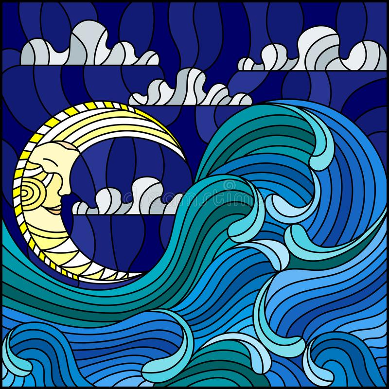 Stained glass illustration painting abstract landscape sea waves on the background of sky and clouds with moon. The illustration in stained glass style painting stock illustration