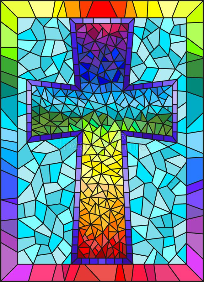 Stained glass illustration painting on religious themes, stained glass window in the shape of a rainbow Christian cross , on a bl. The illustration in stained vector illustration