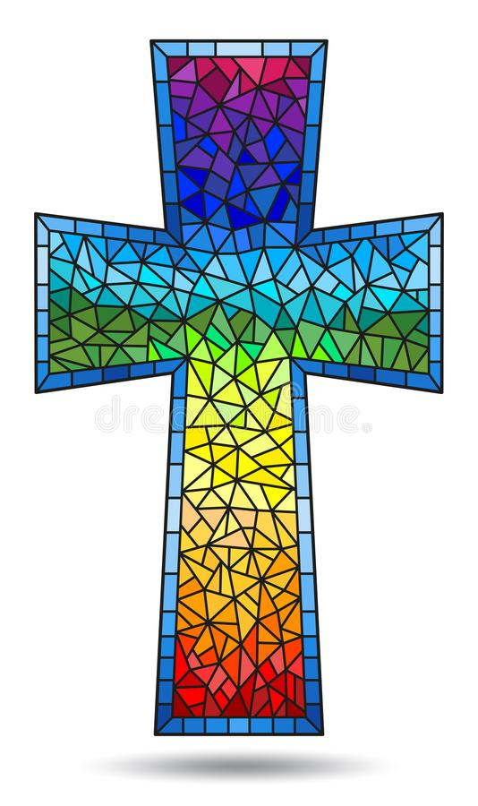 Stained glass illustration painting on religious themes, stained glass window in the shape of a rainbow Christian cross , isolated. The illustration in stained vector illustration