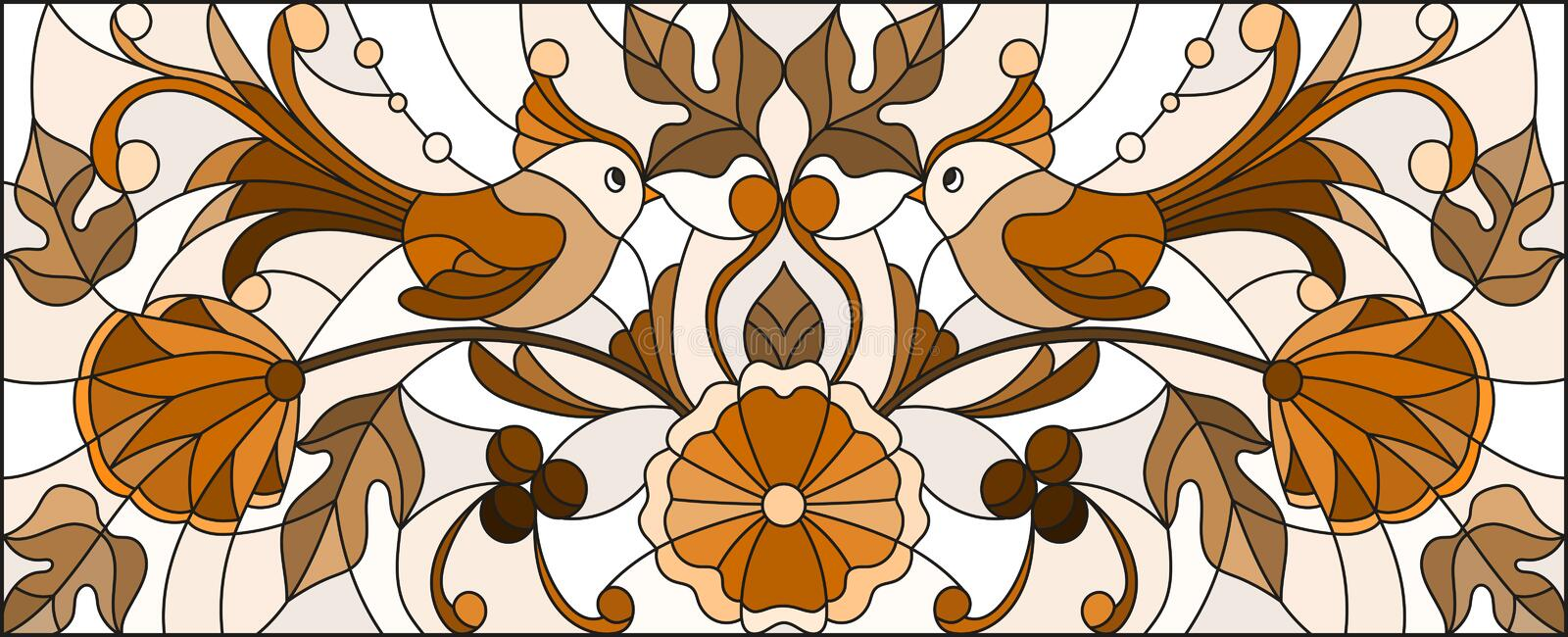Stained glass illustration with a pair of abstract birds , flowers and patterns ,brown tone , horizontal image vector illustration