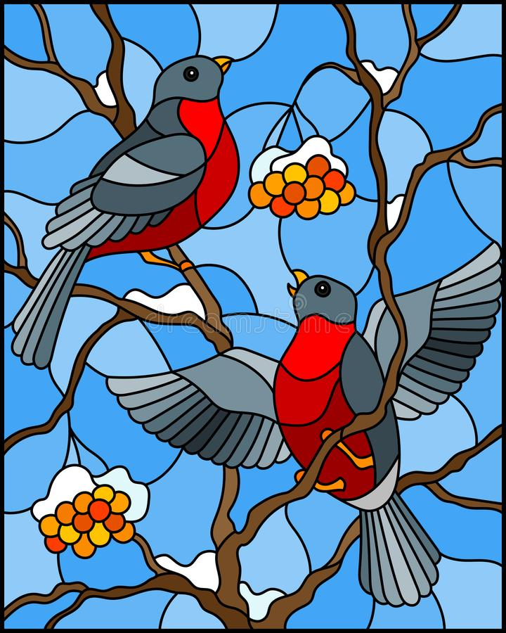 Stained glass illustration with a pair of birds bullfinches on snow-covered mountain ash branches with berries on a background of. Illustration in stained glass stock illustration