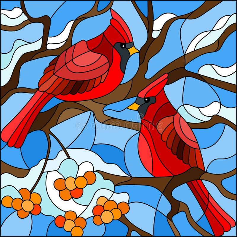 Stained glass illustration , pair of birds cardinals sitting on a branch of mountain ash on a background of sky and no snow stock illustration